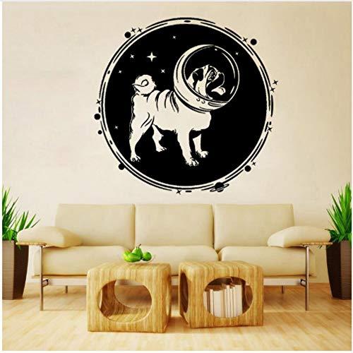 Star source Autocollant de mur de PVC de lune d'astronaute de chien de mode de 58CM * 55.4CM pour le décalque W3-443 d'enfants d'enfants