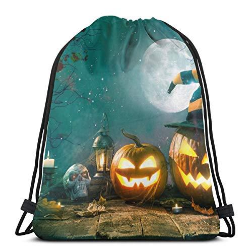 Generic Halloween-Laterne mit brennenden Kerzen, Kürbiskopf, für Damen und Herren, mit Kordelzug, mit Balken, Mund und