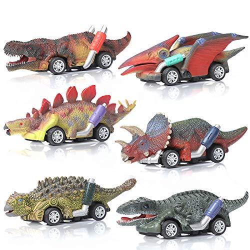 ZWOOS Coches de Juguete de Dinosaurio para Niños, 6 Pcs Pequeños Dinosaurio Tire hacia Atrás Coches Dinosaurio Juguetes Vehículos Dinosaurio Pull Back Coches Regalo de Cumpleaños Navidad para