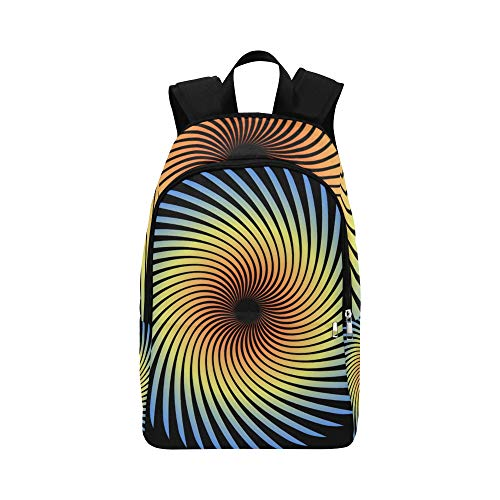 WUTMVING Spiral Round Logo Technology Concept Corporate Casual Daypack Travel Bag College School Backpack for Mens and Women