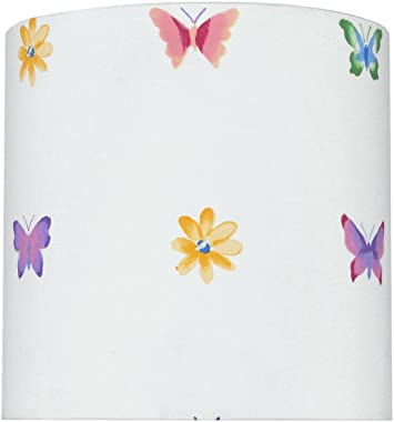 Aspen Creative 31062 Transitional Drum (Cylinder) Shaped Spider Construction Lamp Shade with Butterfly & Flowers, 8""