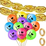 90s Party Themed Balloon Set, Includes 20 Pieces 16 Inch Foil Chain Balloon, 24 Pieces I Love 90s Latex Balloon and 2 Rolls Gold Ribbon for 90s Hip Hop Themed Birthday Wedding Party Decoration
