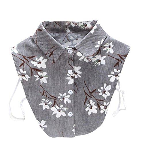Kolylong® Damen Frauen Elegant Blusenkragen mit Spitze Mode Spitze Kragen Abnehmbare Hälfte Shirt Bluse Vintage Hemd Tank Crop Top Abnehmbare Halsbänder Collars (Gray)