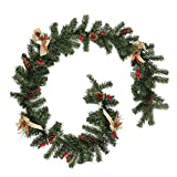 <span class='highlight'><span class='highlight'>FlowersSea</span></span> 6ft Christmas Garland Cones Berries Hessian Bowknot Decoration Green Pine Xmas Festive Wreath for Stair Fireplaces Indoor and Outdoor (6ft)