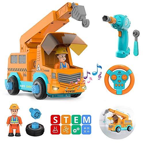 HANMUN Montage Spielzeug Ferngesteuertes Baufahrzeug Spielzeug - Konstruktionsspielzeug ab 3 Jahren LKW Spielzeug zum Selbst Bauen mit Elektrisches Bohren STEAM Pädagogisches Spielzeug für Kinder