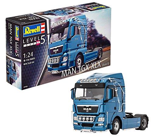 Revell Modellbausatz LKW 1:24 - MAN TGX XLX im Maßstab 1:24, Level 5, originalgetreue Nachbildung mit vielen Details, Lastwagen, Truck, 07426