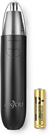 Cortapelos de Nariz y Oreja con LED Hojas de Acero Inoxidable de Doble Borde de Anjou Afeitadora para Nariz Oído y Pelo Facial Cabeza Desmontable Lavable 1 Pila AA para 90 Horas de Recorte – Negro