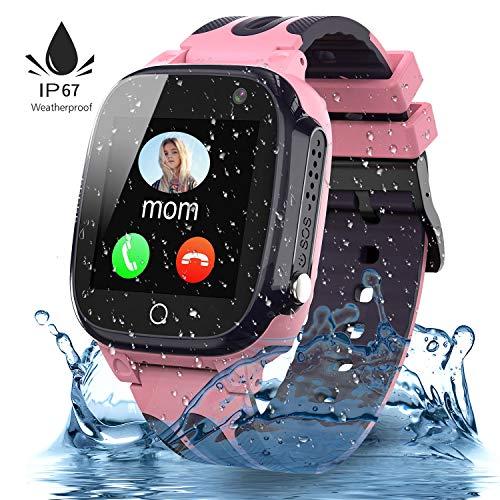 Jaybest Kinder Smartwatch,Wasserdichte Smart Watch für Kinder,Kids Smart Watch Phone mit LBS Tracker SOS Voice Chat Kamera Spiel für Jungen und Mädchen, Geburtstagsgeschenk (rosa)