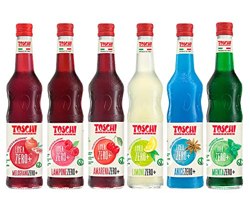 Drink Zero + Toschi 560 ml NUOVI GUSTI, Sciroppo Senza Zucchero nei gusti: Amarena, Menta, Limone, Lampone, Melograno ed Anice.