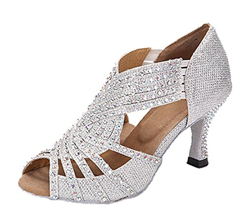 TDA Womens Mid Heel Silver Glitter Synthetic Crystals Latin Modern Salsa Tango Ballroom Wedding Dance Shoes 7 M US
