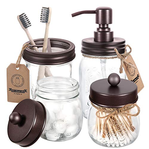 AOZITA Mason Jar Bathroom Accessories Set 4 Pcs - Mason Jar Soap Dispenser & 2 Apothecary Jars & Toothbrush Holder - Rustic Farmhouse Decor, Bathroom Home Decor, Countertop Vanity Organize - Bronze
