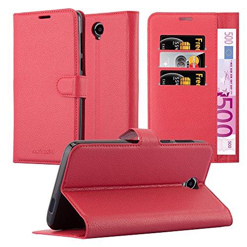 Cadorabo Hülle für Cubot MAX - Hülle in Karmin ROT – Handyhülle mit Kartenfach und Standfunktion - Case Cover Schutzhülle Etui Tasche Book Klapp Style