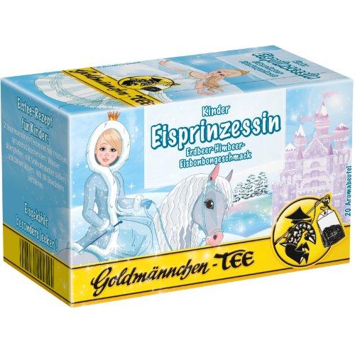 Goldmännchen Kinder Tee Eisprinzessin, Erdbeer-Himbeer-Eisbonbon, Aromatisierter Früchte-Kräutertee, 20 einzeln versiegelte Teebeutel