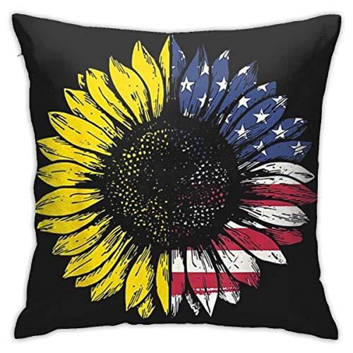 Cy-ril Funda de Almohada Decorativa de poliéster con Bandera de Girasol de EE. UU, Funda de cojín, Funda de Almohada para sofá Cama 40X40 Cm
