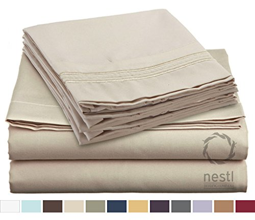 HIGHEST QUALITY Bed Sheet Set, #1 on Amazon, Queen Size, Beige Cream, - Super Soft, Silky Coziest Sheet – SALE! - Better than Cotton, Will Fit Deep Pocketed Mattresses - Wrinkle, Stain and Fade Resistant Hypoallergenic Fabric - Set Includes Luxury Fitted and Flat Sheets and Pillow Cases. Ideal for Your Bed! Best for Your Bedroom, Guest or Children's Room, Vacation Home and RV - Makes an Excellent Gift - LIFETIME 100% Included - Nestl Bedding