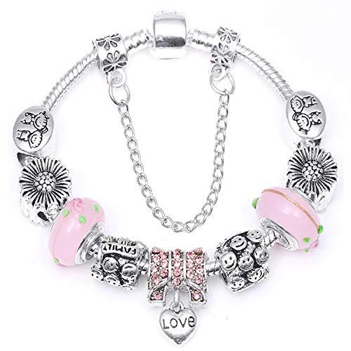 Vintage plateado original europeo fino pulsera rosa flor perlas encanto pulsera para las mujeres DIY joyería regalo 16cm