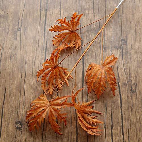 Interior Flores Artificiales for la decoración, la Hoja de Arce-Color Morado Oscuro, 5PCS, for el Partido jardín de la Boda de la decoración Floral Artificial (Color : Caramel)