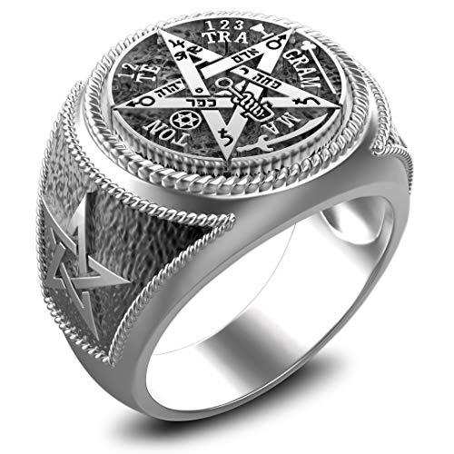 Ceremonial Magic Seal of Solomon Tetragrammaton Ring 925 Sterling Silver Size 6-15 (6)