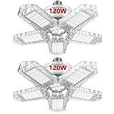 EVV LED Garage Lights 120W Max 12000LM LED Deformable Ceiling Light Fixtures with 5 Adjustable Panels E26/E27 Shop Lights Bulb for Billiard Parlor Basement Workshop (2 Pack)