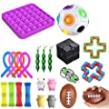 27 Fidget Toy Niños Adultos Juego de juguetes antiestrés, 4 bolas pegajosas Gobbles + 1 Push Pop Pop Bubble + 3 Frijoles + 4 Figet String + Todo en la imagen (24 piezas púrpura) de