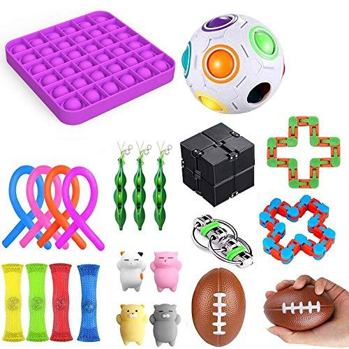 27 Fidget Toy Niños Adultos Juego de juguetes antiestrés, 4 bolas pegajosas Gobbles + 1 Push Pop Pop Bubble + 3 Frijoles + 4 Figet String + Todo en la imagen (24 piezas púrpura)