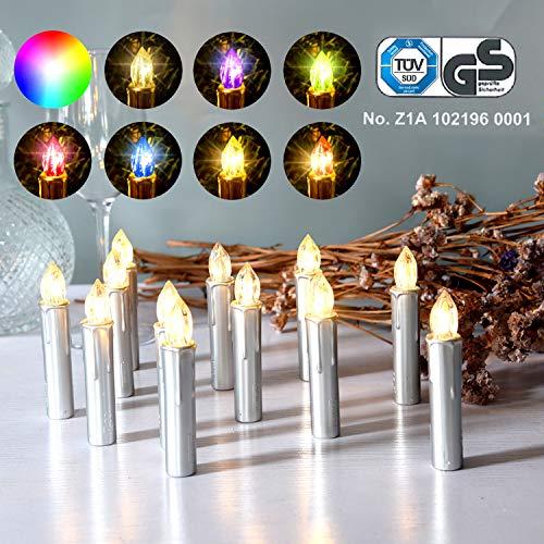 CCLIFE GS/CE LED Weihnachtskerzen Kabellos RGB Kerzen Bunt Weihnachtsbaumkerzen Christbaumkerzen mit Fernbedienung Timer Kerzenlichter, Farbe:Silber, Größe:20er