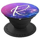 Galaxy Buchstabe R Blau Lila Rosa Weiß Nebula Monogramm R - PopSockets Ausziehbarer Sockel und Griff für Smartphones und Tablets