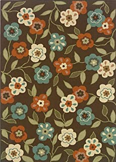 """Moretti Wordhaven Area Rug 2267D Brown Floral Petals 7' 10"""" x 7' 10"""" Round"""