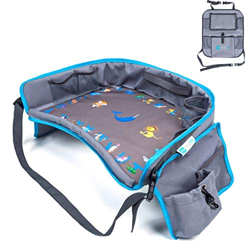 Moditty | Kids Travel Tray Bundle with Back Seat Car Organizer | Car Seat Lap Tray for Toddlers to Play and Snack in Car Seats, Airplanes, Strollers (Blue)