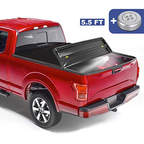 MOSTPLUS Tri-Fold Soft Folding Truck Tonneau Cover Compatible with 2004 2005 2006 2007 2008 Ford F150 F-150 (Excl. 2004 Heritage) Styleside 3 Fold On Top (5.5 FT)