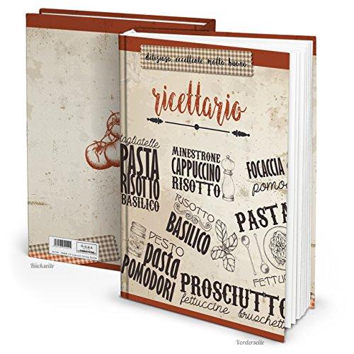 XXL Hardcover Italiaans receptenboek om zelf te schrijven, RICETTARIO MEINE recepten kookboek notitieboek 164 pagina's cadeau voor het verzamelen van recepten blanco boek, keuken