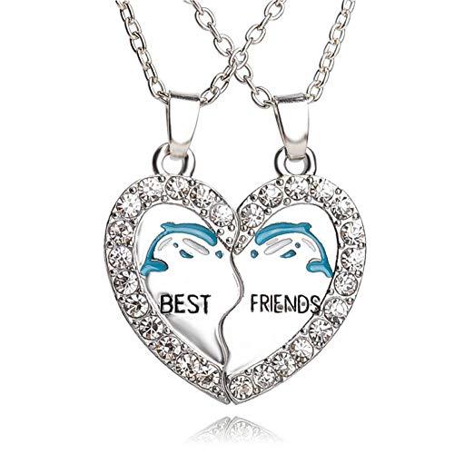 FyaWTM Collar Colgante Collar deDelfines AzulesMejores Amigos Collares Corazón de Diamantes de imitación 2 Piezas Collar de Cristal Animal para la Amistad de Bestfriend para Siempre