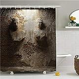 ZLWSSA Cortina de Ducha a Prueba de Agua 3D Muro de Piedra Envejecida y Bodega oxidada Oscura Albañilería de Piedra Antigua Arte Baño de poliéster Ducha 180x200cm