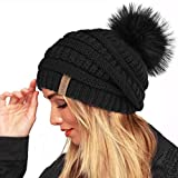 Winter Real Fur Pom Beanie Hat Warm Oversized Chunky Cable Knit Slouch Beanie Hats for Women(One Size,Black Fur Pompom)
