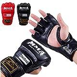 Guantes, guantes de boxeo de cuero Más UFC Paddding Hombres Mujeres nudillo de protección de la muñeca, medio dedo guantes mitones de entrenamiento de Formación, Kickboxing, Muay Thai, nching, artes m