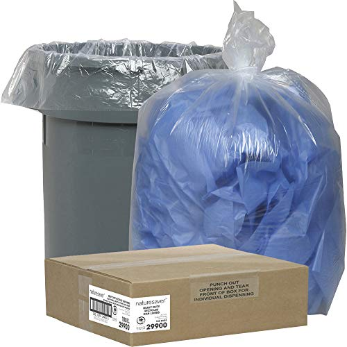 Nature Saver Recycled Can Liners Trash Bag, Medium, Clear, 100