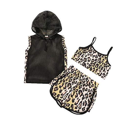 Ohomr Baby-Kleidung-Klage Retro Hoodys Top Leibchen Tube Top Shorts für Kleinkind Leopard 110cm 3pcs