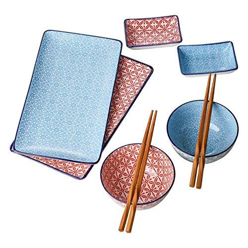vancasso Macaron Set di Sushi in Ceramica 8 Pezzi Stile Giapponese Set da Sushi per 2 Persone con 2...