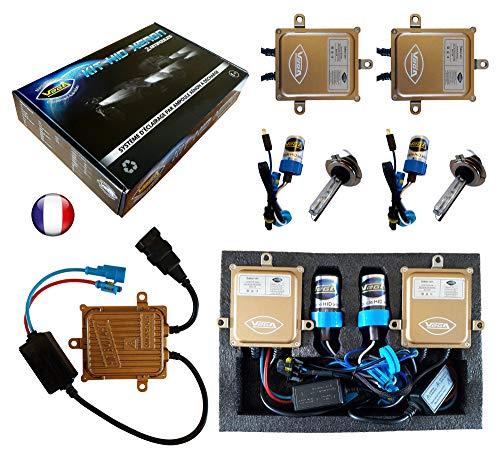 VEGA Kit HID Xénon Marque Francaise H7 10000K 55W Slim DSP AC Ampoules à embase métallique