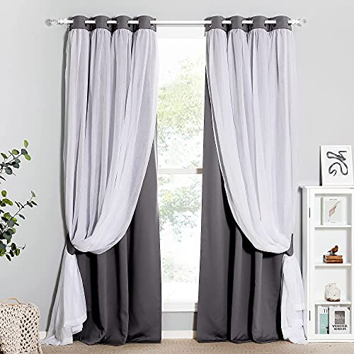 PONY DANCE Living Room Blackout Curtains - Stylish Mix & Match Elegance White Crushed Voile with Light Block Drapes, 52 by 84 inches, Grey, 2 PCs