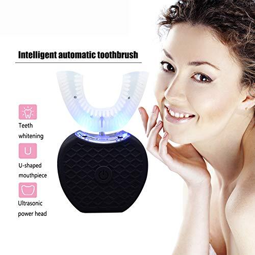 360 Automatische Elektrische Ultraschall-Zahnbürste, IPX7 Wasserdicht, Wiederaufladbar 4-Modus-USB-Silikonbürstenköpfe Smart U-Type-Zahnbürste, Dental-Mundreiniger,Black