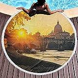 Toalla redonda para yoga Toalla de playa redonda impresa en otoño Puesta de sol en el río Tíber San Pedro Ciudad de Roma Italia Basílica Turística Antigua Manta multifunción Marigold Amarillo Negro (D