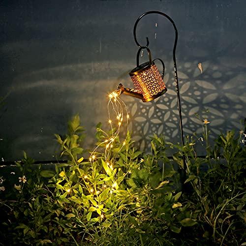 Fiorky Regadera solar con luces de hadas, luces LED de riego de ducha, puede iluminar cadenas de riego con luces solares, decoración de jardín, jardín, patio, césped