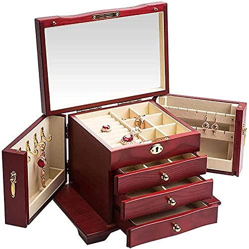 Caja de joyería de madera para joyas, caja de almacenamiento, caja de almacenamiento, accesorios de viaje, caja fuerte y fuerte, caja de madera