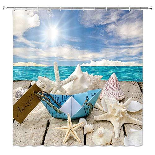 Ozean Duschvorhang Seestern Muschel Strand Nettes Boot Meer Sonnenlicht Blau Hellbraun Bad Vorhänge Dekor Polyester Stoff Wasserdicht 60 X 72 Zoll Inklusive Haken