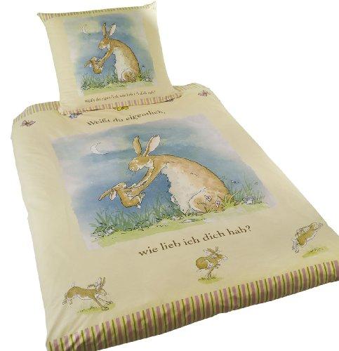 Global Labels G 46 600 WDW1 100K Renforce Bettwäsche, Weißt du eigentlich, wie lieb ich Dich hab? 100 x 135 cm Bettbezug und 40 x 60 cm Kissenbezug