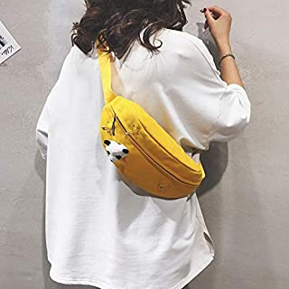 Fashion Single-Shoulder Bags Fashion Canvas Single Shoulder Bag Waist Chest Bag Messenger Bag with Panda Doll Decoration (Color : Yellow, Size : OneSize)