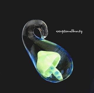 Small Hand Blown Lampwork Glass Encased Green Mushroom Bead Drop Charm Pendant
