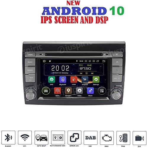 ANDROID 10 GPS DVD USB SD WI-FI Bluetooth Mirrorlink autoradio 2 DIN navigatore Fiat Bravo 2007, 2008, 2009, 2010, 2011, 2012, 2013, 2014