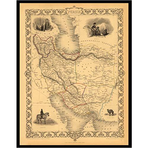 Old Maps Library Vintage Reproduktion Karte von Persien 1851 Leinenrückseite, gefaltete Karte, 60x80